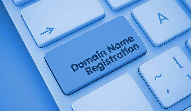 Domain Name Registration Text On Orange Keyboard Key 3d